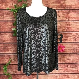 Chico's Top Pullover 14 16 3 Brown Bronze Animal